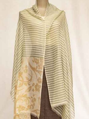 basket stripe stole with print