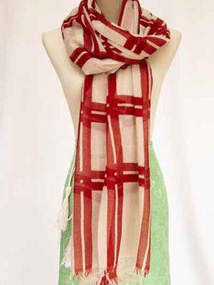 basket check print shawl